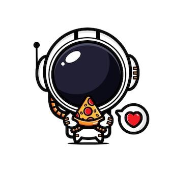귀여운 우주 비행사가 피자를 즐기고있다