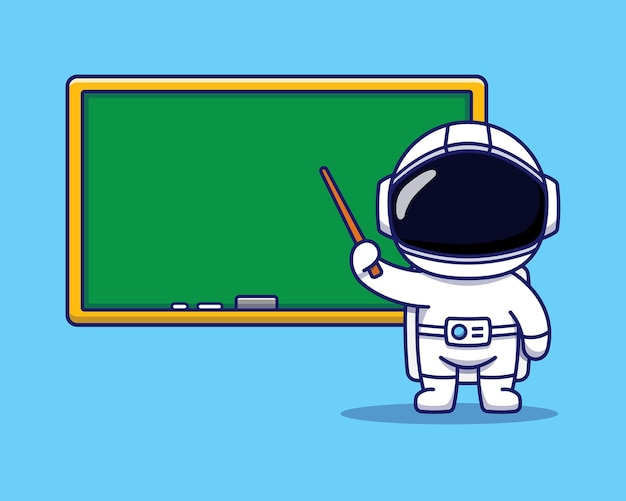 Cute astronaut is teaching