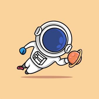 かわいい宇宙飛行士ジャンプサッカーのゴールキーパーが惑星の漫画をキャッチ