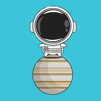 Cute astronaut on jupiter isolated on blue