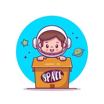 Симпатичные астронавт малыш в коробке мультяшный иллюстрации.
