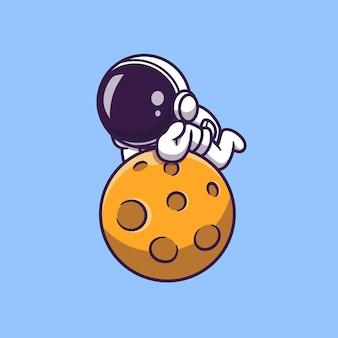 かわいい宇宙飛行士は月の漫画のアイコンのイラストを置きます。科学技術アイコン概念分離。フラット漫画スタイル
