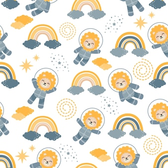 Cute astronaut lion animal cartoon seamless pattern