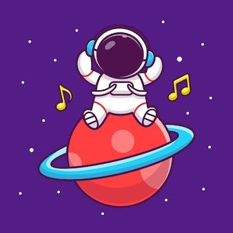 かわいい宇宙飛行士が惑星漫画アイコンイラストで音楽を聴く。人科学空間アイコンコンセプト分離プレミアム。フラット漫画スタイル