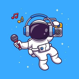 ラジカセのイラストで音楽を聴くかわいい宇宙飛行士