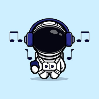 Cute astronaut listening music with headphone mascot