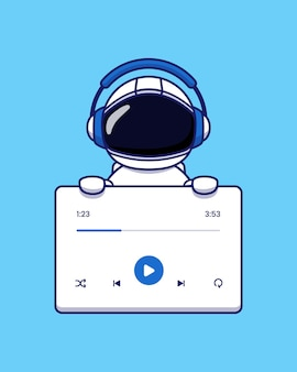 Cute astronaut listening music with headphone