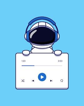 헤드폰으로 귀여운 우주 비행사 듣는 음악