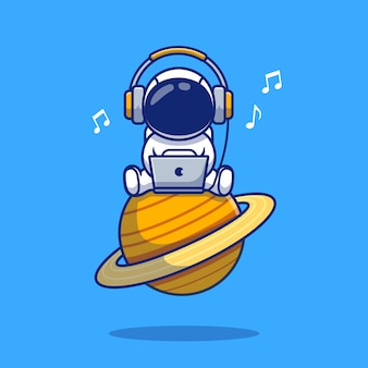 Cute astronaut listening music with laptop and headphone cartoon icon illustration. space icon concept isolated premium . flat cartoon style