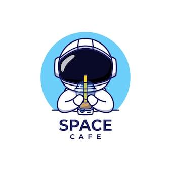 Симпатичная концепция логотипа космонавта
