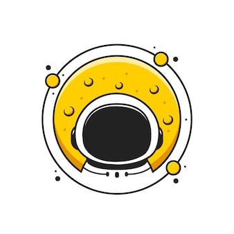 月と惑星のかわいい宇宙飛行士のロゴ