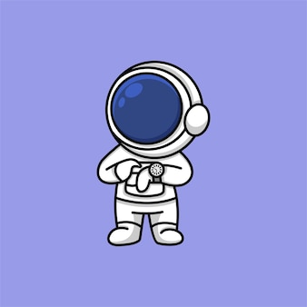 Cute astronaut looking at watch cartoon illustration
