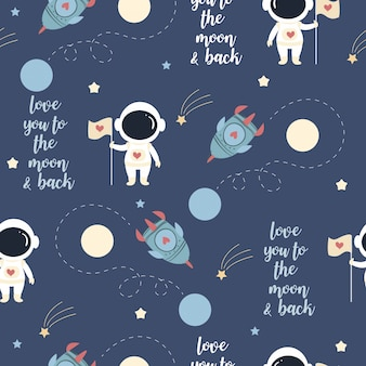 Cute astronaut in love on the space pattern