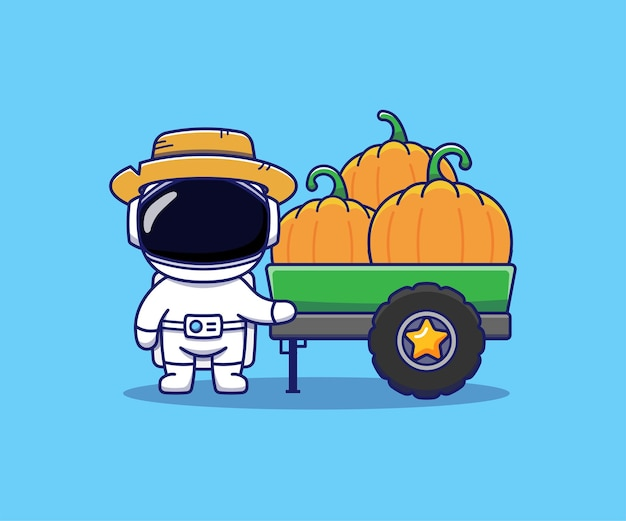 Cute astronaut many pumpkins in the lorry