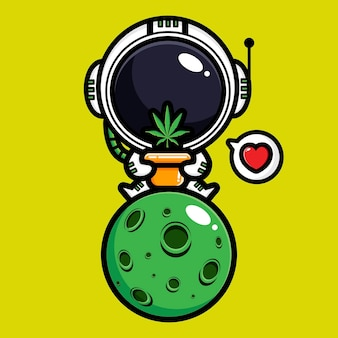 Cute astronaut and marijuana leaf