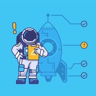 귀여운 우주 비행사 마스코트 만화 캐릭터. 로켓 그림의 유지 보수 설정