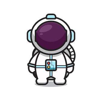 Cute astronaut mascot character cartoon   icon illustration. flat cartoon style.