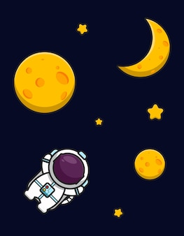 Cute astronaut mascot character flying spaces with yellow moon and star cartoon   icon illustration. flat cartoon style.