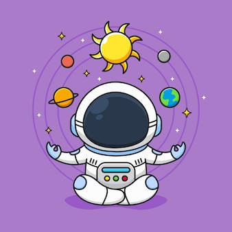 Cute astronaut meditate with galaxy background