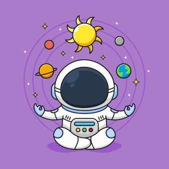 かわいい宇宙飛行士は銀河系の背景で瞑想します