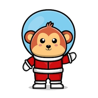 Cute astronaut monkey cartoon animal space concept illustration