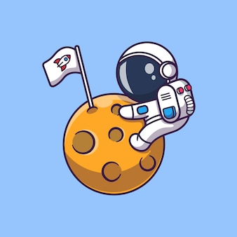 Cute astronaut on moon   icon illustration. spaceman mascot cartoon character. science icon concept isolated