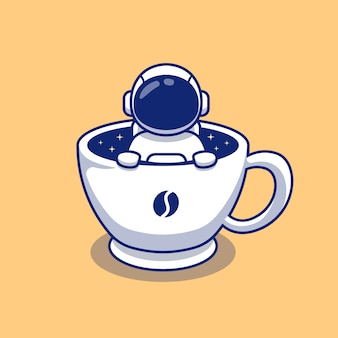 一杯のコーヒースペース漫画イラストのかわいい宇宙飛行士。