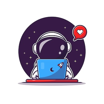 Cute astronaut operating laptop cartoon vector icon illustration. science technology icon