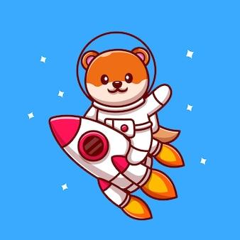 かわいい宇宙飛行士カワウソに乗ってロケット漫画アイコンイラスト。