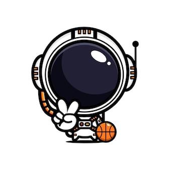 勝利のポーズでバスケットボールをしているかわいい宇宙飛行士