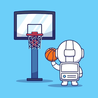 Cute astronaut playing basketball
