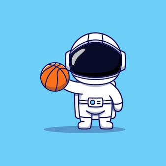 バスケットボールをしているかわいい宇宙飛行士