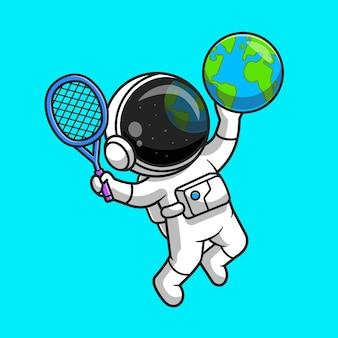 지구 글로브 테니스 만화 벡터 아이콘 그림을 재생하는 귀여운 우주 비행사. 스포츠 과학 아이콘 개념 절연 프리미엄 벡터입니다. 플랫 만화 스타일