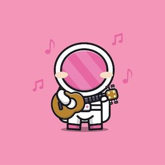 Cute astronaut playing guitar cartoon illustration