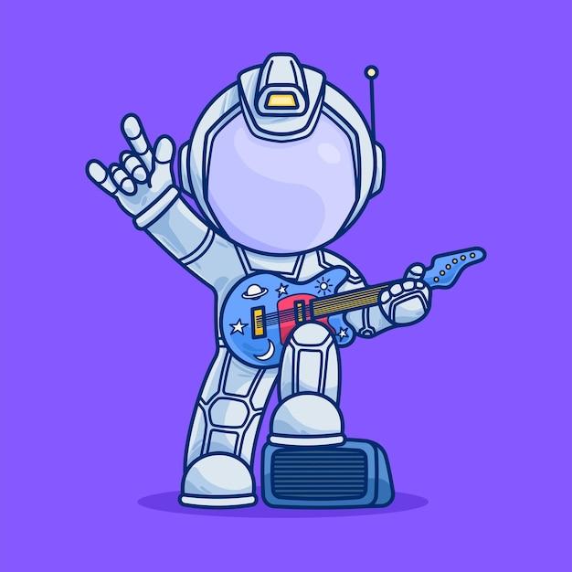 Милый космонавт играет на гитаре мультяшный