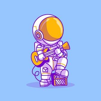 기타 벡터 일러스트 레이 션을 연주 귀여운 우주 비행사
