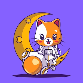 Cute astronaut playing sitting on a moon icon illustration