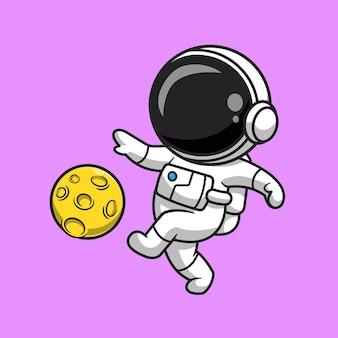 Simpatico astronauta che gioca a calcio luna fumetto icona vettore illustrazione. concetto di icona di scienza dello sport isolato vettore premium. stile cartone animato piatto