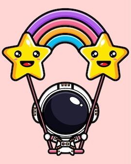 귀여운 우주 비행사 공간에서 스윙 연주