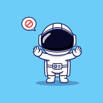 Милый космонавт позирует руками запрещает