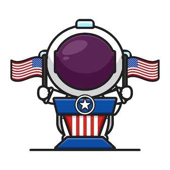 Cute astronaut on the pulpit holding flags celebrate america independence day cartoon icon vector illustration.design isolated on white. flat cartoon style.