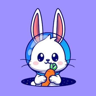 宇宙でニンジンを保持しているかわいい宇宙飛行士のウサギ漫画ベクトルアイコンイラスト。動物科学アイコンの概念分離プレミアムベクトル。フラット漫画スタイル
