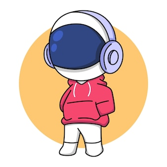 Cute astronaut in red jacket with headphones cartoon illustration