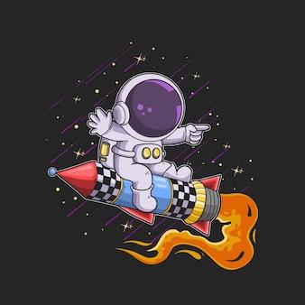 かわいい宇宙飛行士の乗り物ロケットジェットイラスト