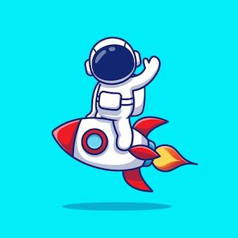 かわいい宇宙飛行士がロケットに乗って手を振って漫画イラスト。
