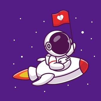 Cute astronaut riding rocket with love flag cartoon icon illustration. people science space icon concept isolated premium . flat cartoon style