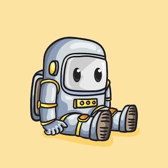 かわいい宇宙飛行士ロボット座っている漫画スタイル