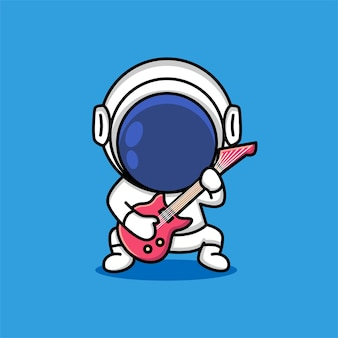 Cute astronaut rock musician is playing electrical guitar cartoon
