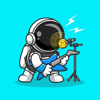Cute astronaut rocker sing with guitar cartoon vector icon illustration. music science icon concept isolated premium vector. flat cartoon style