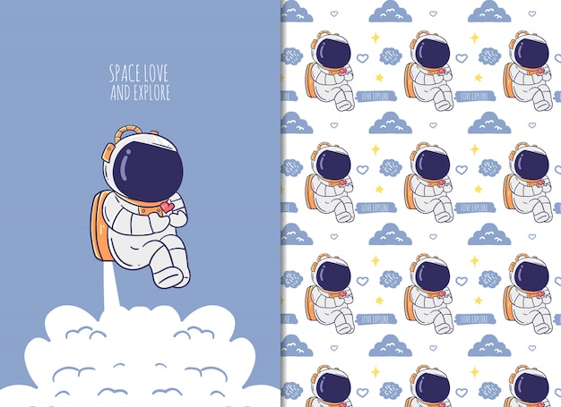 Cute astronaut seamless pattern color background.